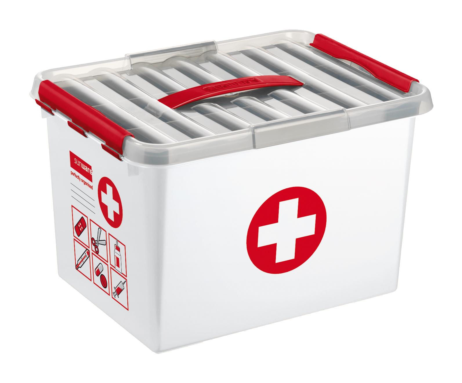 baumarkt egger haushalt gesundheit sunware q line first aid box 22 liter 79802604. Black Bedroom Furniture Sets. Home Design Ideas
