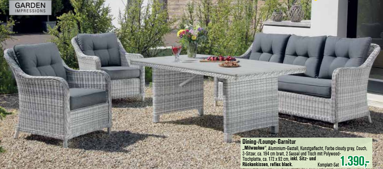 baumarkt egger gartenm bel gartenm bel sets garden impressions lounge garnitur milwaukee 4. Black Bedroom Furniture Sets. Home Design Ideas